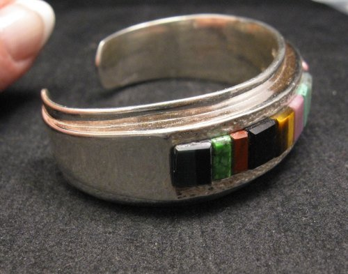 Image 3 of Hopi Multi Stone Inlay Bracelet, Bennard & Frances Dallasvuyaoma