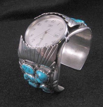 Image 3 of Large Navajo Dead Pawn Turquoise Watch Cuff, E Spencer