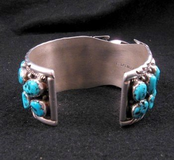 Image 4 of Large Navajo Dead Pawn Turquoise Watch Cuff, E Spencer