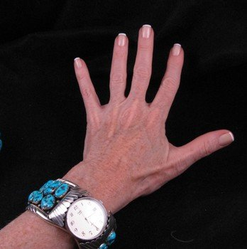 Image 5 of Large Navajo Dead Pawn Turquoise Watch Cuff, E Spencer