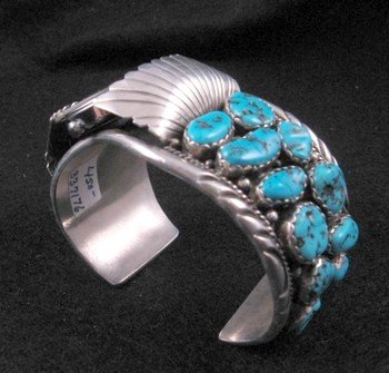 Image 6 of Large Navajo Dead Pawn Turquoise Watch Cuff, E Spencer