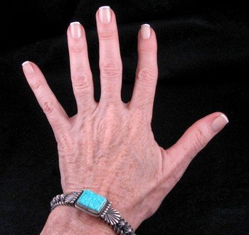 Image 3 of Darryl Becenti Navajo Turquoise Sterling Silver Bracelet