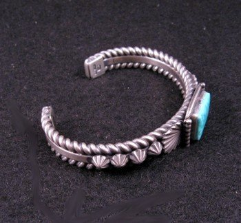 Image 4 of Darryl Becenti Navajo Turquoise Sterling Silver Bracelet