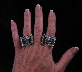Image 3 of Cellicion Zuni Multi Inlay Butterfly Ring sz6-1/2