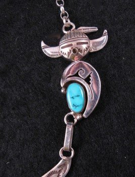 Image 3 of Nelson Morgan, Navajo, 4-piece Turquoise Kachina Silver Necklace