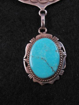 Image 4 of Nelson Morgan, Navajo, 4-piece Turquoise Kachina Silver Necklace
