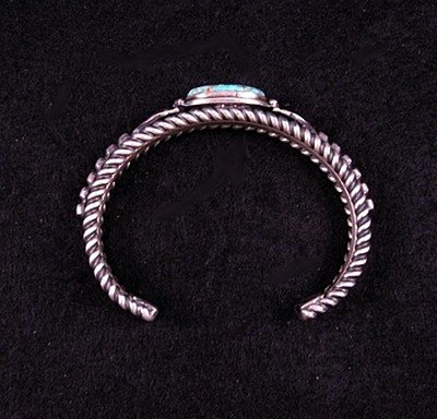 Image 4 of Navajo Turquoise Silver Cuff Bracelet, Darryl Becenti