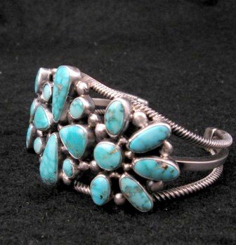 Image 3 of Navajo Turquoise Silver Cluster Bracelet, Verdy Jake