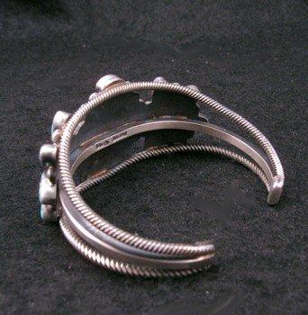 Image 4 of Navajo Turquoise Silver Cluster Bracelet, Verdy Jake