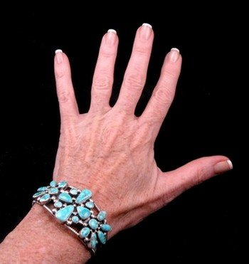 Image 5 of Navajo Turquoise Silver Cluster Bracelet, Verdy Jake