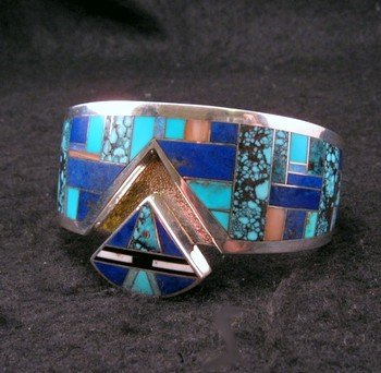 Image 3 of Fancy Navajo Turquoise Lapis Inlay Silver Bracelet, Charlie Willie