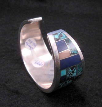 Image 4 of Fancy Navajo Turquoise Lapis Inlay Silver Bracelet, Charlie Willie