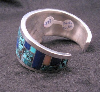 Image 5 of Fancy Navajo Turquoise Lapis Inlay Silver Bracelet, Charlie Willie