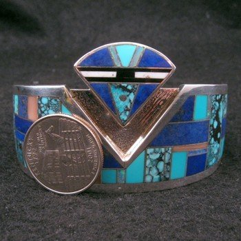 Image 6 of Fancy Navajo Turquoise Lapis Inlay Silver Bracelet, Charlie Willie