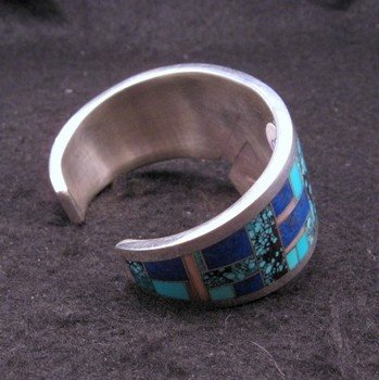 Image 7 of Fancy Navajo Turquoise Lapis Inlay Silver Bracelet, Charlie Willie