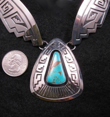 Image 1 of Everett & Mary Teller Navajo Number 8 Turquoise Silver Necklace