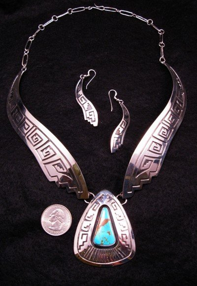 Image 0 of Everett & Mary Teller Navajo Number 8 Turquoise Silver Necklace