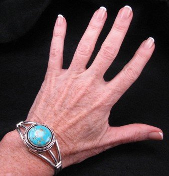 Image 3 of Navajo Native American Number 8 Turquoise Silver Bracelet