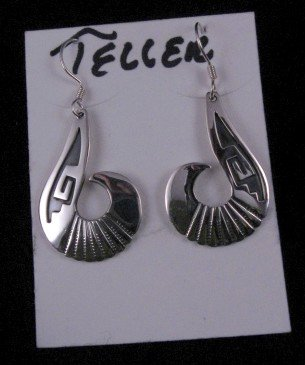 Image 3 of Everett & Mary Teller Navajo Kingman Turquoise Silver Swirl Necklace Earrings