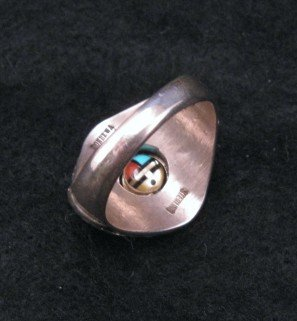 Image 3 of Don Dewa Zuni Inlaid Sunface Spinner Ring Sz13