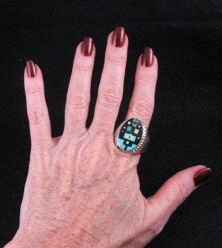 Image 3 of Navajo, Albert Tapaha, Starry Nite Yei Inlay Ring Sz13