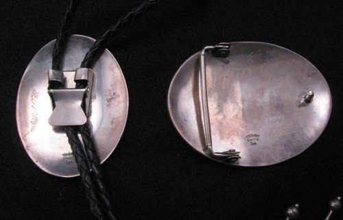 Image 3 of Vintage Navajo Sterling Silver Buckle & Bolo Set