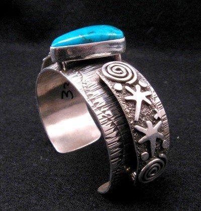 Image 3 of Navajo Alex Sanchez Turquoise Silver Raised Petroglyph Bracelet