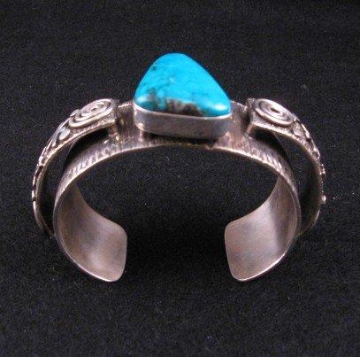 Image 4 of Navajo Alex Sanchez Turquoise Silver Raised Petroglyph Bracelet