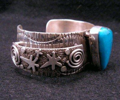 Image 5 of Navajo Alex Sanchez Turquoise Silver Raised Petroglyph Bracelet