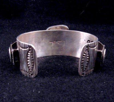 Image 6 of Navajo Alex Sanchez Turquoise Silver Raised Petroglyph Bracelet
