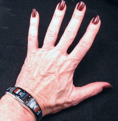 Image 3 of Ervin Tsosie Navajo Inlay Silver Bracelet