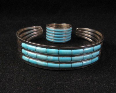 Image 3 of Zuni Jewelry Inlay Turquoise & Sterling Silver Bracelet, Anson Wallace