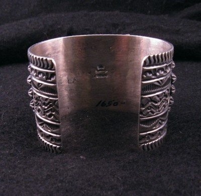 Image 8 of Wide Darryl Becenti Navajo Turquoise Sterling Silver Cuff Bracelet
