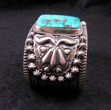 Image 5 of Wide Darryl Becenti Navajo Turquoise Sterling Silver Cuff Bracelet