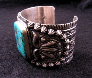 Image 6 of Wide Darryl Becenti Navajo Turquoise Sterling Silver Cuff Bracelet