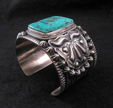 Image 7 of Wide Darryl Becenti Navajo Turquoise Sterling Silver Cuff Bracelet