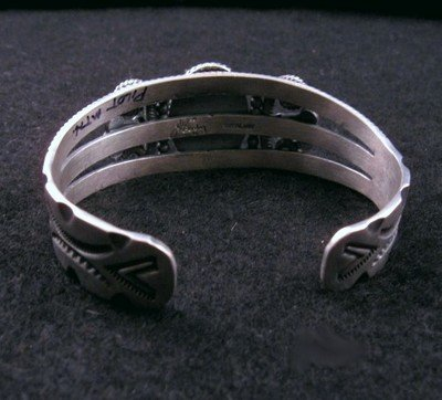 Image 3 of Old Pawn Style Turquoise Silver Bracelet by Navajo Delbert Gordon