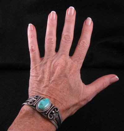 Image 4 of Old Pawn Style Turquoise Silver Bracelet by Navajo Delbert Gordon