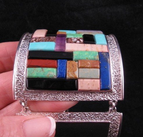 Image 3 of Hopi Inlay * Warrior Woman * Bracelet, Bennard & Frances Dallasvuyaoma