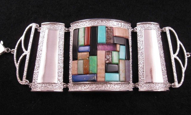 Image 8 of Hopi Inlay * Warrior Woman * Bracelet, Bennard & Frances Dallasvuyaoma