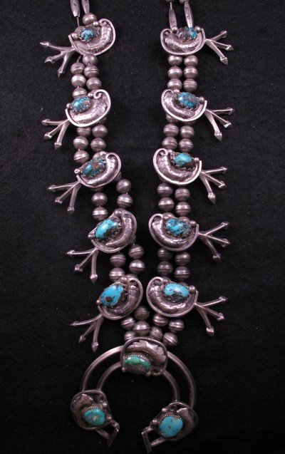 Image 1 of Vintage Dead Pawn Native American Turquoise Silver Squash Blossom Necklace