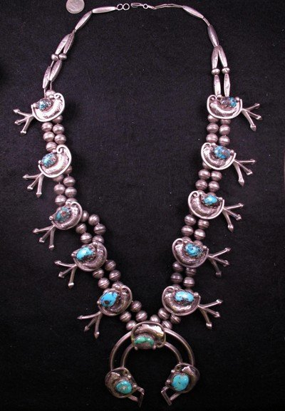 Image 4 of Vintage Dead Pawn Native American Turquoise Silver Squash Blossom Necklace