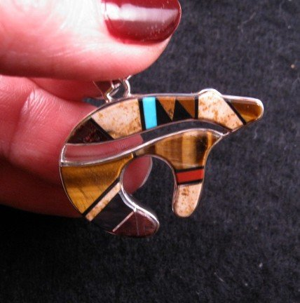 Image 4 of Navajo ~ Earl Plummer ~ Multi Inlay Bear Pendant