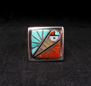 Image 3 of Zuni Native American Mens Inlaid Sunface Ring Sz11