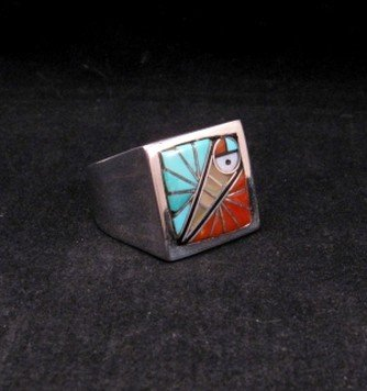 Image 4 of Zuni Native American Mens Inlaid Sunface Ring Sz11