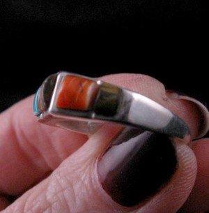 Image 3 of Narrow Native American Inlaid Band Ring Sz8-1/2