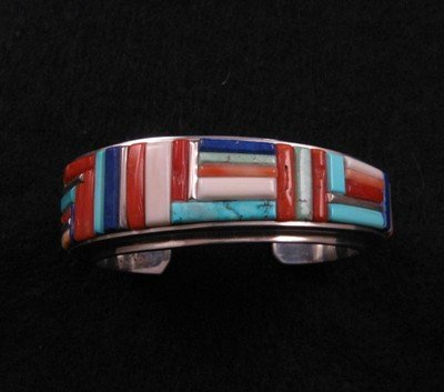 Image 3 of David Tune ~ Navajo/Creek ~ Cobblestone Inlay Bracelet