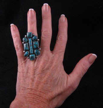 Image 3 of Gorgeous Turquoise Ring by Navajo Verdy Jake sz6-1/2 to 8