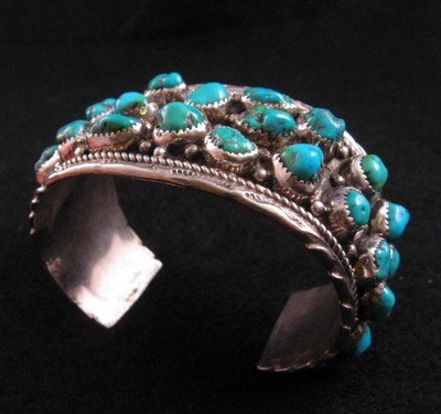 Image 5 of Native American Dead Pawn Turquoise Cuff Bracelet - Extra Large