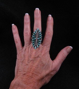 Image 3 of Carlos Tsipa Zuni Pettipoint Turquoise Sterling Silver Ring sz10-1/2